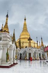 Shwedagon pagoda in a rainy day.  Yangon, Rangoon, Burma, Mianmar.