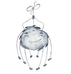 Cute watercolor spider cartoon illustration