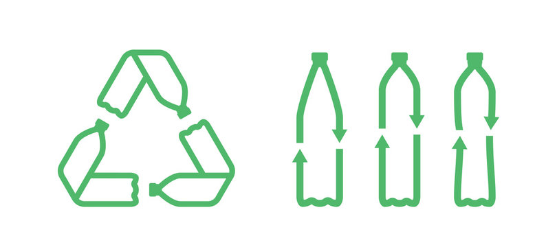 Pet bottles form mobius loop or recycling symbol with arrows