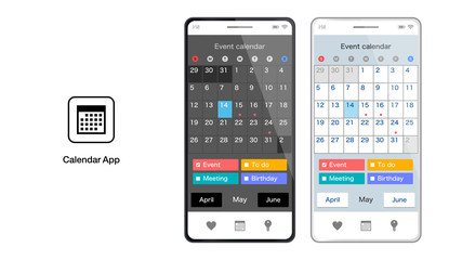 カレンダースケジュールスマホアプリのUIベクターイラスト素材