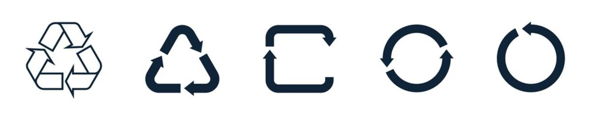 Recycling symbol icon set. Triangle, circle, square recycling symbols.