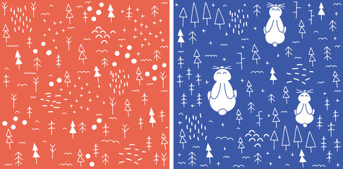 Vector Catoon Seamless Christmas winter holiday pattern
