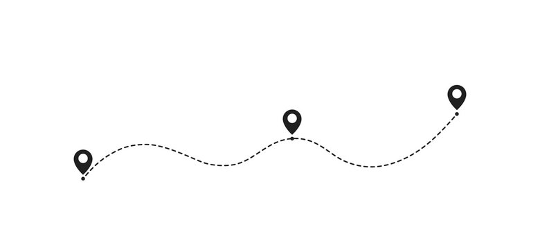 Route location icon, two pin sign and dotted line road, start and end journey symbol