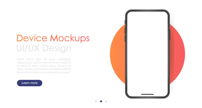 Smartphone blank screen, phone mockup. Template for infographics or presentation UI design interface