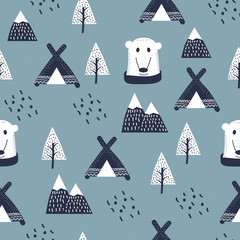 Scandinavian style kids, baby texture for fabric, textile, pyjamas, apparel. Hand drawing, white bears seamless