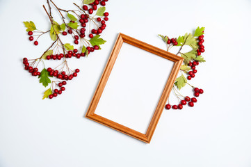 Autumn composition. Wooden photo frame, branches with red berries and green hawthorn leaves on white background.