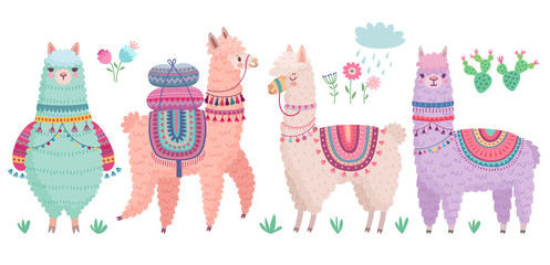 Cute Llamas with funny quotes. Funny hand drawn characters.