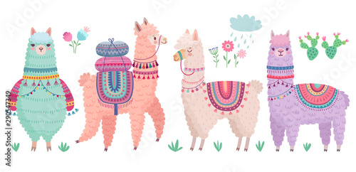Wall mural Cute Llamas with funny quotes. Funny hand drawn characters.
