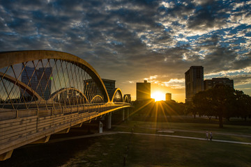 Fort Worth Skyline sunrise w/7th st. bridge