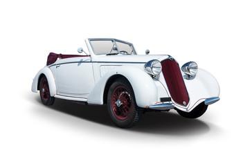 White Italian Antique car isolated on white