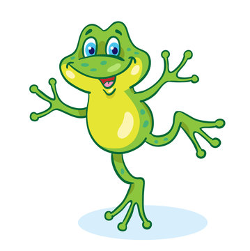 Lucky little dancing frog in cartoon style. Isolated on white background.