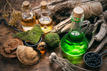 Green magic potion bottle on a wizard table. Herbal medicine with dried ingredients on the table background. Witch doctor concept.