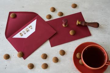 Dutch event Sinterklaas. Letter for Sint, kruidnoten and cup of tea