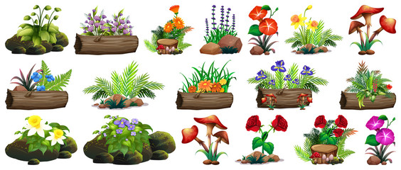 Door stickers Kids Large set of colorful flowers on rocks and wood
