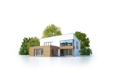 Moderne Villa 5 isoliert weiß