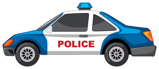 Police car on white background