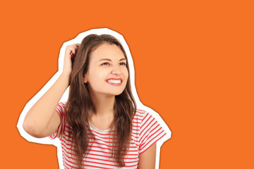 happy woman thinks and scrape the hair. emotional girl Magazine collage style with trendy color background