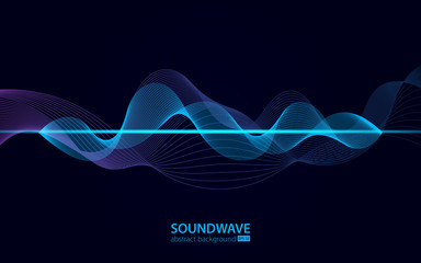 Soundwave vector abstract background. Music radio wave
