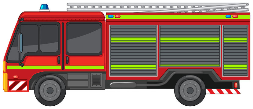 Fire engine on white background