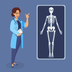 Woman doctor points her finger at the x-ray poster picture of the human body, skeleton.