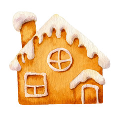 Picture of a gingerbread house with sugar icing hand drawn in watercolor isolated on a white background.