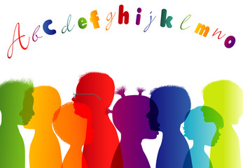 Fotobehang - Multi-ethnic children. Colorful kindergarten. Childhood. Group different children profile rainbow colors isolated silhouette. Community of multiracial children. Friendship learning cultural education