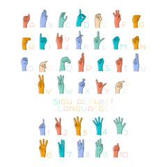 Vector Illustration of Sign Language Hands and Alphabet for deaf.