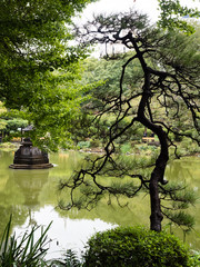 Unkei pond and traditional Japanese garden in Hibiya park - Tokyo, Japan