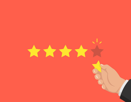 Hand pointing at one of five stars. Rating, evaluation, success, feedback, review, quality and management concept. Vector illustration.