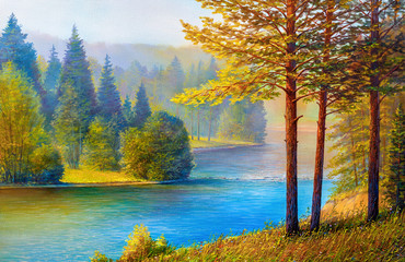 Morning landscape with pines and river.
