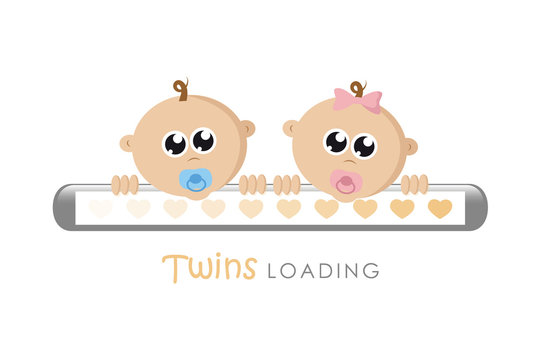 baby girl and boy twins loading bar with hearts vector illustration EPS10