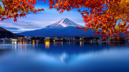 Fuji mountain and Kawaguchiko lake in morning, Autumn seasons Fuji mountain at yamanachi in Japan.