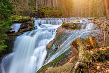 Obraz River in the forest, Szklarki waterfall - fototapety do salonu