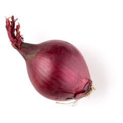 red onion isolated on white background cutout, top view