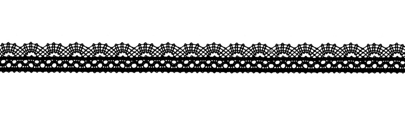 Black lace ribbon isolated shot