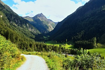 Austrian Alps-hiker on the way to the valley Untertal