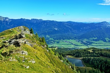Austrian Alps-view on the massif Dachstein from Hauser Kaibling
