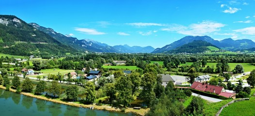 Austrian Alps-panoramic view  from castle Trautenfels