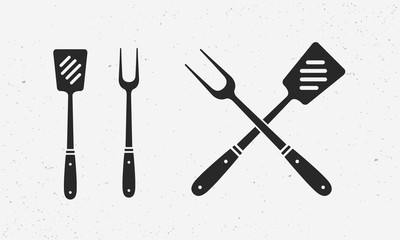 Barbecue items set. Grill and BBQ supplies. Set of Grill fork and Spatula. Barbecue design elements for logo, poster, emblem. Vector Illustration