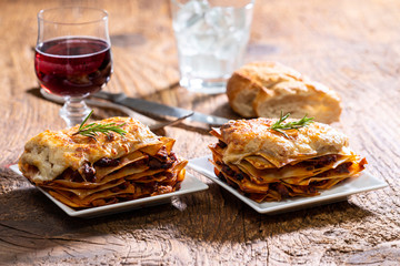lasagna on wood