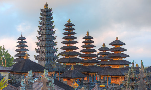 Bali style roof of Pura Besakih temple on the slopes of Mount Agung largest and holiest temple in Bali