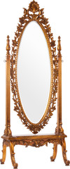 Big old mirror in a beautiful wooden carved frame