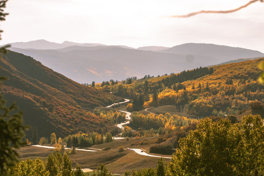Beautiful mountains in Aspen on the Fall foliage season in September. Colorful trees in the mountains of Colorado state.