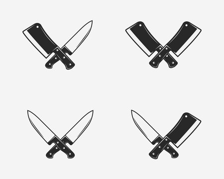 Set of butcher shop icons. Crossed meat knives. Meat cleaver and chef knife isolated on white background. Vector illustration
