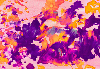 Abstract watercolor background. Ink stains. Colorful art for design.