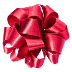 big round bow in red color isolated on white background close up . Bow image for decoration design.