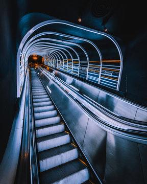 Empty escalator in room