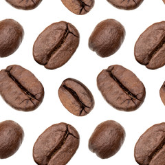 Coffee beans background, Isolated on white. Food concept. . Coffee beans pattern.