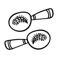 Cartoon Maracas on white background. Coloring page adult and kids. Musical instrument Mexico maracas. Vector illustration. - Vector