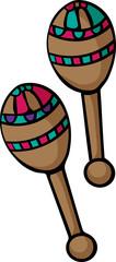 Cartoon Maracas on white background. Musical instrument Mexico maracas. Vector illustration. - Vector